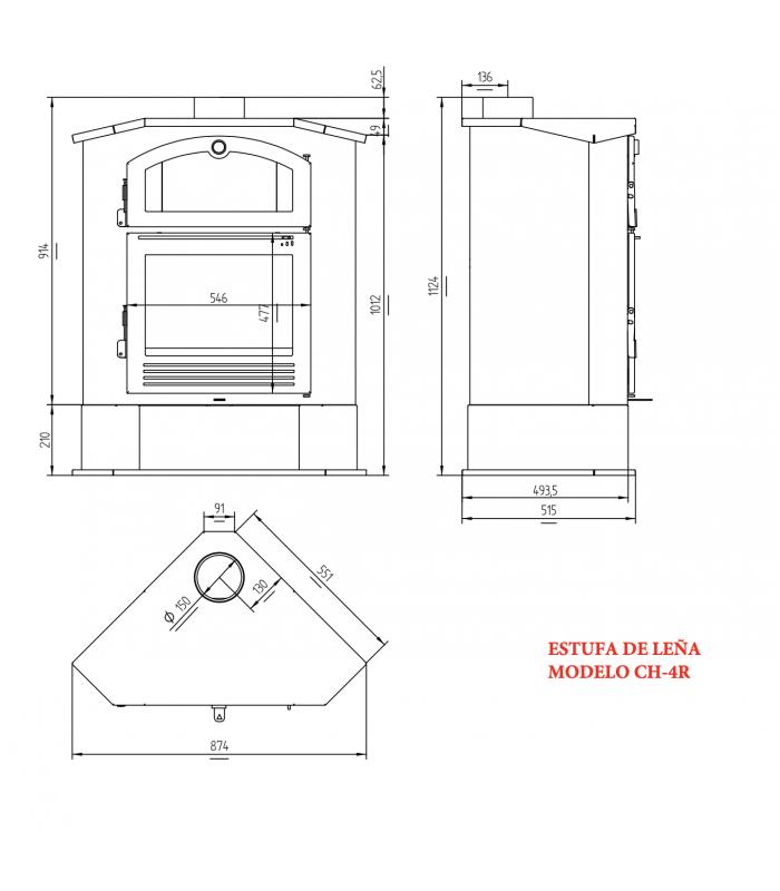 Medidas de Estufa de leña CH-4 R